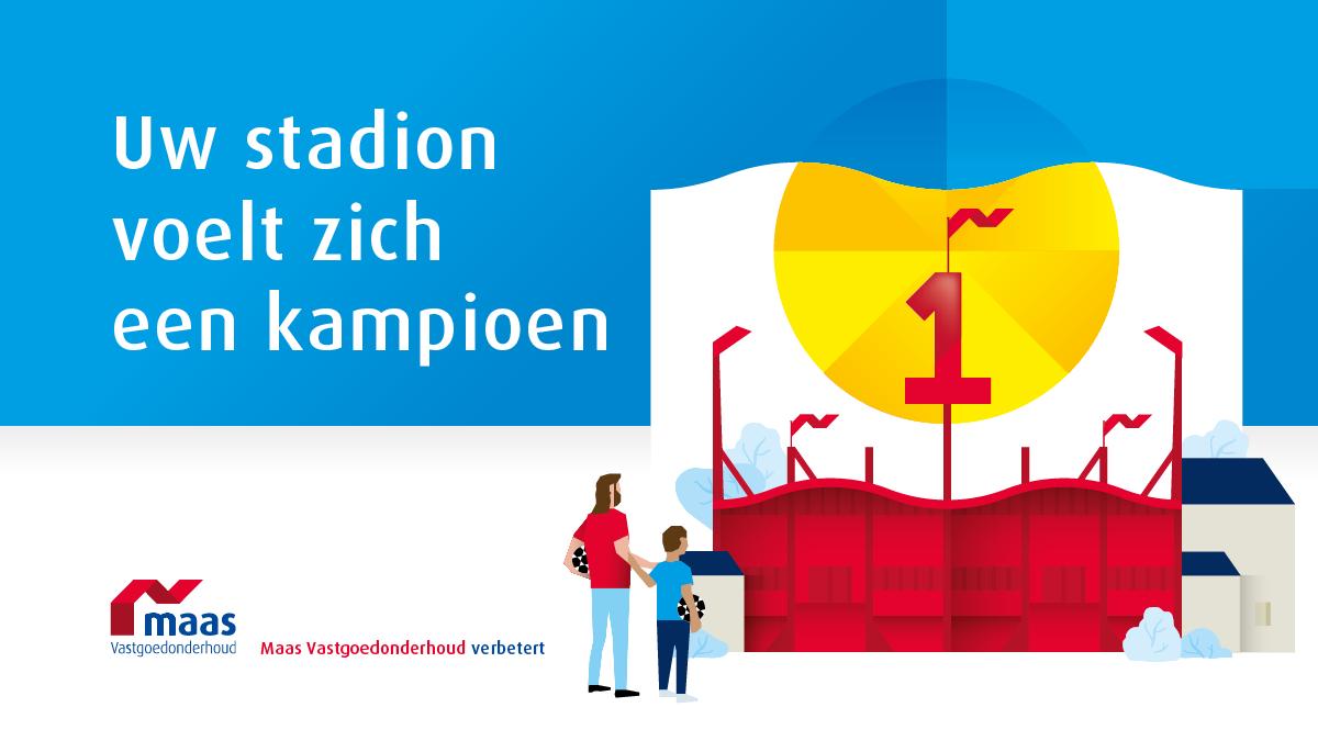 Uw stadion waant zich een kampioen. Maas Vastgoedonderhoud, verbetert.